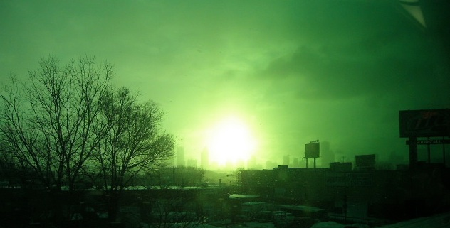 Sunrise in Green over Chicago