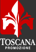 Red, white and black image of Tuscany logo